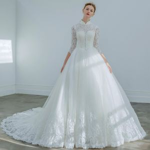 Elegant Ivory Wedding Dresses 2019 A-Line / Princess High Neck Lace Flower Buttons 3/4 Sleeve Chapel Train