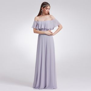 Modest / Simple Lavender Chiffon Bridesmaid Dresses 2019 A-Line / Princess Off-The-Shoulder Short Sleeve Split Front Floor-Length / Long Ruffle Backless Wedding Party Dresses