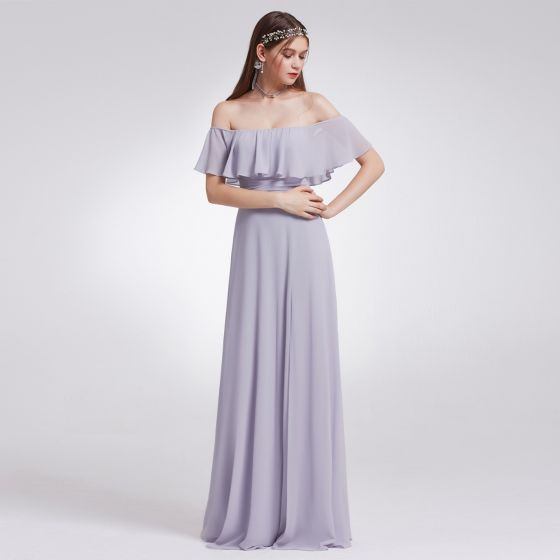 214c298b36a Modest   Simple Lavender Chiffon Bridesmaid Dresses 2019 A-Line   Princess  Off-The-Shoulder Short Sleeve Split Front Floor-Length   Long Ruffle ...