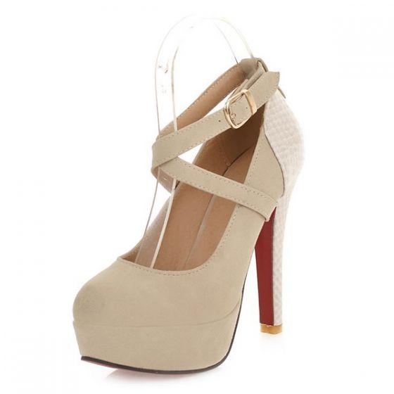 Fashion Beige Heels Ladies Stiletto Strappy Heels Pumps Shoes