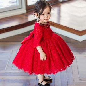 Chic / Beautiful Red Lace Birthday Flower Girl Dresses 2020 Ball Gown Scoop Neck 1/2 Sleeves Bow Rhinestone Short Ruffle Wedding Party Dresses