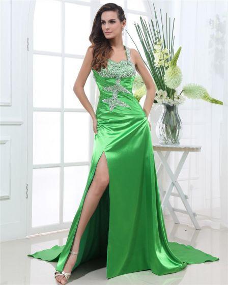 Shouder Straps Sleeveless Backless Floor Length Beading Charmeuse Woman Prom Dress