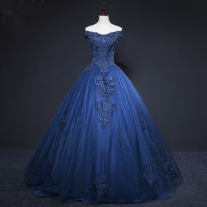 Vintage / Retro Navy Blue Prom Dresses 2019 A-Line / Princess Off-The-Shoulder Beading Crystal Lace Flower Sleeveless Backless Floor-Length / Long Formal Dresses