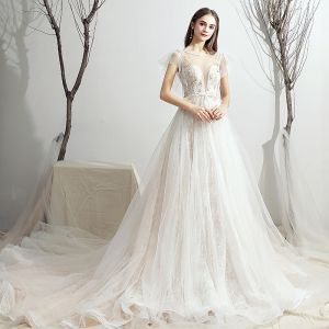 Chic / Beautiful Ivory Wedding Dresses 2019 A-Line / Princess Scoop Neck Appliques Lace Flower Bow Short Sleeve Backless Chapel Train