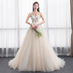 Charming Champagne See-through Wedding Dresses 2018 A-Line / Princess Scoop Neck Sleeveless Backless Appliques Lace Ruffle Chapel Train