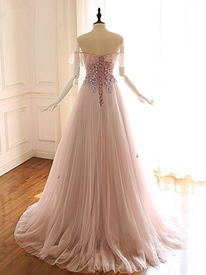 Classy Pearl Pink Prom Dresses 2019 A-Line / Princess Off-The-Shoulder Short Sleeve Appliques Lace Beading Sweep Train Ruffle Backless Formal Dresses