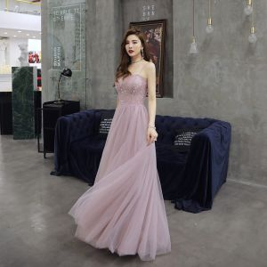 Chic / Beautiful Blushing Pink Evening Dresses  2019 A-Line / Princess Spaghetti Straps Sequins Sleeveless Backless Floor-Length / Long Formal Dresses