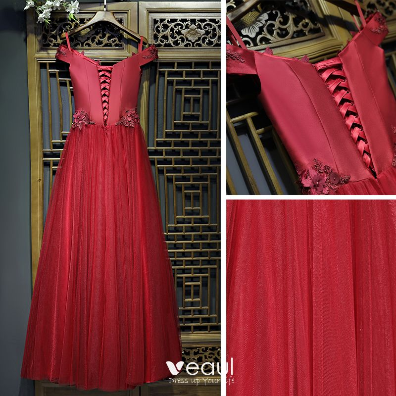 Chic / Beautiful Red Formal Dresses Evening Dresses  2017 Lace Flower Pearl Artificial Flowers V-Neck Ankle Length Short Sleeve A-Line / Princess