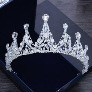 Luxury / Gorgeous Silver Tiara 2018 Metal Beading Crystal Rhinestone Wedding Accessories