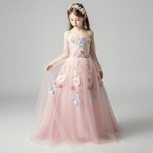 Elegant Pearl Pink Flower Girl Dresses 2019 A-Line / Princess Off-The-Shoulder Long Sleeve Appliques Lace Floor-Length / Long Ruffle Backless Wedding Party Dresses