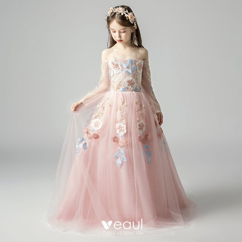 Pink Flower Girl Dress Elegant Off Shoulder Lace Applique Princess Party Gown
