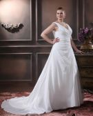Elegant A-Line V-Neck Sleeveless Floor-Length Satin Plus Size Wedding Dresses