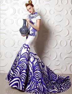 A-ligne Col Haut Amelioree Cheongsam Robe De Soirée Verte Fleur De Porcelaine De Sirène
