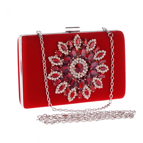 Chic / Beautiful Red Rhinestone Metal Clutch Bags 2018