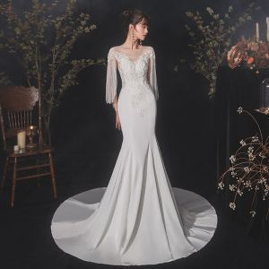 Chic / Beautiful Ivory Satin See-through Wedding Dresses 2020 Trumpet / Mermaid Scoop Neck Short Sleeve Beading Tassel Appliques Lace Court Train