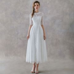 Vintage / Retro Ivory Lace Outdoor / Garden Wedding Dresses 2019 A-Line / Princess High Neck 1/2 Sleeves Ankle Length Ruffle