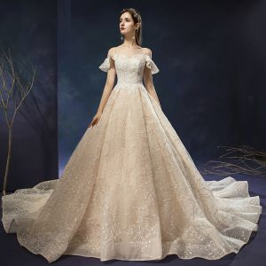 Charming Champagne Wedding Dresses 2019 A-Line / Princess Scoop Neck Sequins Lace Flower Sleeveless Backless Cathedral Train