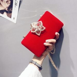 Modern / Fashion Red Clutch Bags Beading Flower Velour Cocktail Party Evening Party Accessories 2019
