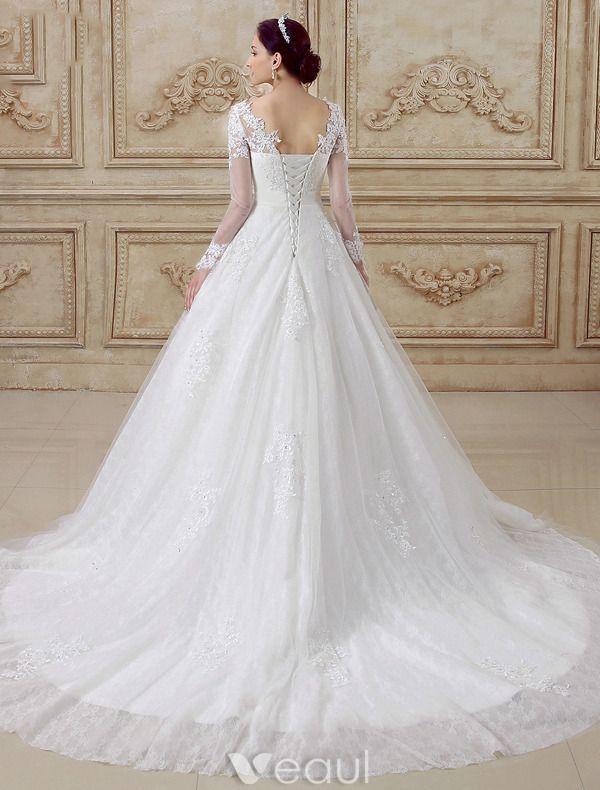 Belles Robe De Mariée 2016 A-ligne De Dentelle Dos Nu Tulle Robe De Mariage Avec Des Manches Longues