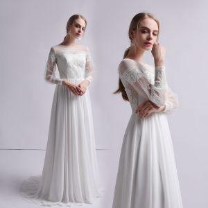 Mode Ivory / Creme Chiffon Durchsichtige Brautkleider / Hochzeitskleider 2019 Etui Eckiger Ausschnitt Geschwollenes Lange Ärmel Sweep / Pinsel Zug Rüschen