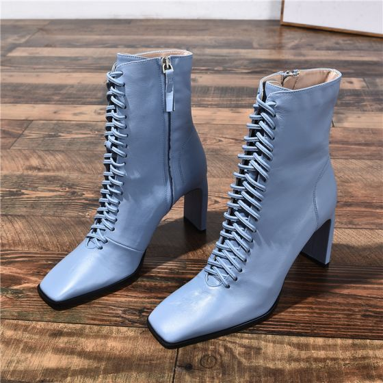 Chic / Beautiful Sky Blue Casual Womens Boots 2020 Leather 8 cm Stiletto Heels Square Toe Boots