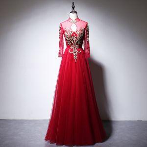 Chinesischer Stil Rot Abendkleider 2020 A Linie Stehkragen Perlenstickerei Strass Pailletten Lange Ärmel Lange Festliche Kleider