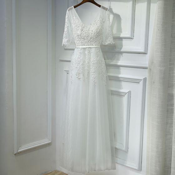 Sencillos Blanco Vestidos para bodas 2017 Con Encaje Flor Perla Lentejuelas U-escote 1/2 Ærmer Por La Rodilla Empire Vestidos De Damas De Honor