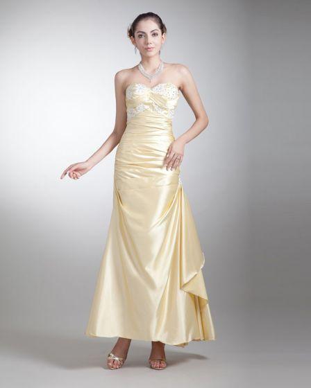 Charmeuse Ruffle Beading Sweetheart Ankle Length Prom Dress