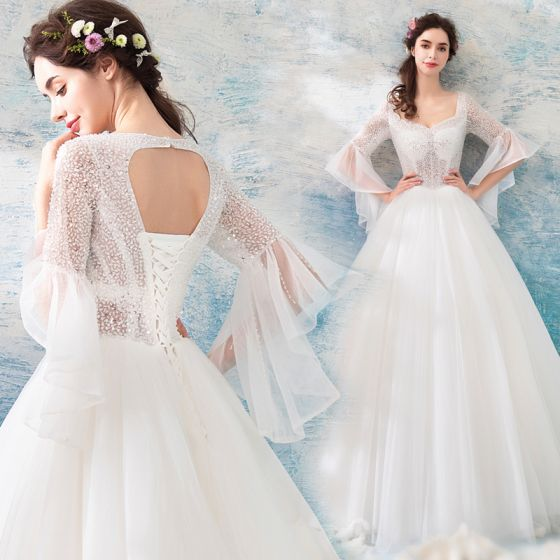 Affordable Ivory Beach Wedding Dresses 2019 Ball Gown Square Neckline Long Sleeve Backless Beading Sequins Floor Length Long Ruffle