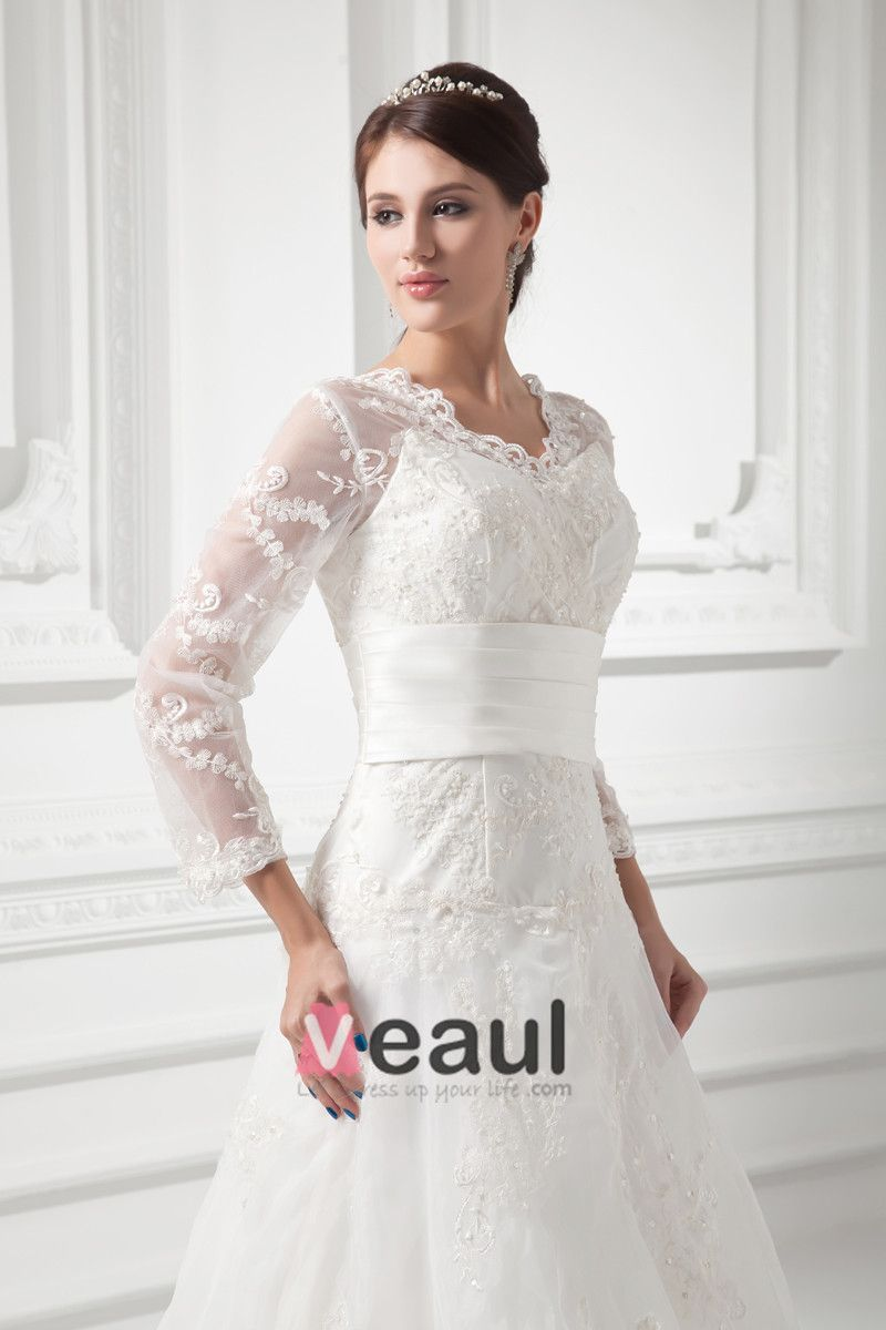 Organza Beads Flower V Neck Court Train Long Sleeve A Line Wedding Dress