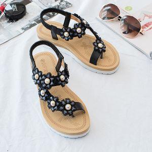 Hermoso Verano Negro Ropa de calle Zapatilla & Chanclas 2020 Rhinestone Con Encaje Flor Peep Toe Zapatos De Mujer