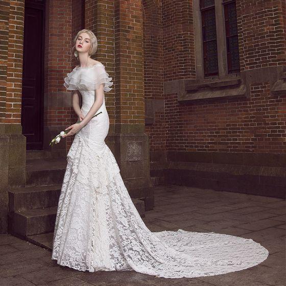 Stunning Ivory Wedding Dresses 2017 Trumpet / Mermaid Lace Off-The-Shoulder Backless Short Sleeve Detachable Chapel Train