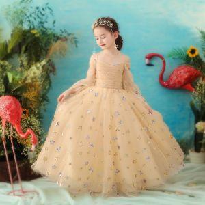 Elegant Gold Flower Girl Dresses 2018 A-Line / Princess Spaghetti Straps Long Sleeve Star Sequins Glitter Tulle Floor-Length / Long Ruffle Backless Wedding Party Dresses