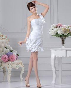 Einen Schulter Plissee Perlen Mini Satin Brautkleider Kurze