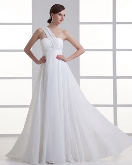 Chiffon Ruffle One Shoulder Floor Length Pleated Empire Wedding Dress