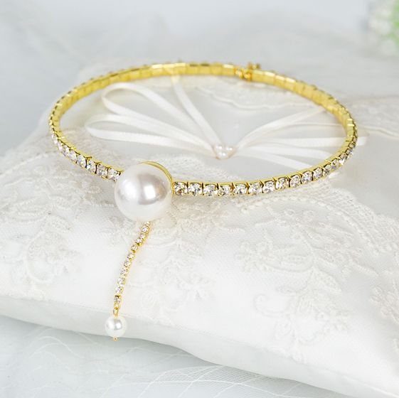 Chic / Beautiful Gold Bridal Hair Accessories 2020 Metal Pearl Rhinestone Headpieces Wedding Accessories
