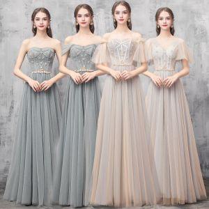 Elegante Champagner Grün Brautjungfernkleider 2019 A Linie Perlenstickerei Lange Rüschen Rückenfreies Kleider Für Hochzeit