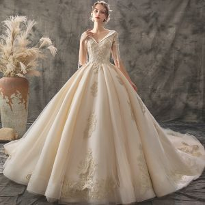 Chic / Beautiful Champagne Wedding Dresses 2019 A-Line / Princess V-Neck Short Sleeve Backless Beading Tassel Appliques Lace Cathedral Train Ruffle