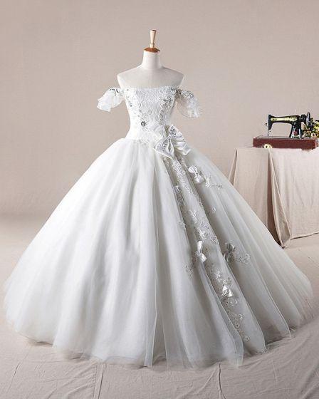 Fast Applikationen Beading Bateau Rosett Dekoration Organza Balklänning Bröllopsklänningar Brudklänning