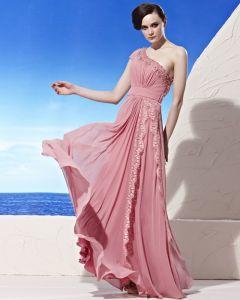 Encolure Asymetrique Perlant Plancher Composite Filament Empire Robe De Soirée De Femme De Longueur