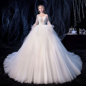 Charming Ivory Wedding Dresses 2020 Ball Gown Sweetheart Detachable Long Sleeve Backless Glitter Tulle Appliques Lace Beading Cathedral Train Ruffle