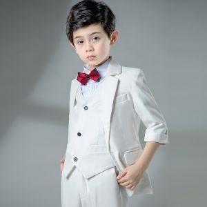 Modest / Simple Ivory Boys Wedding Suits 2019 1/2 Sleeves Coat Pants Shirt Tie Vest