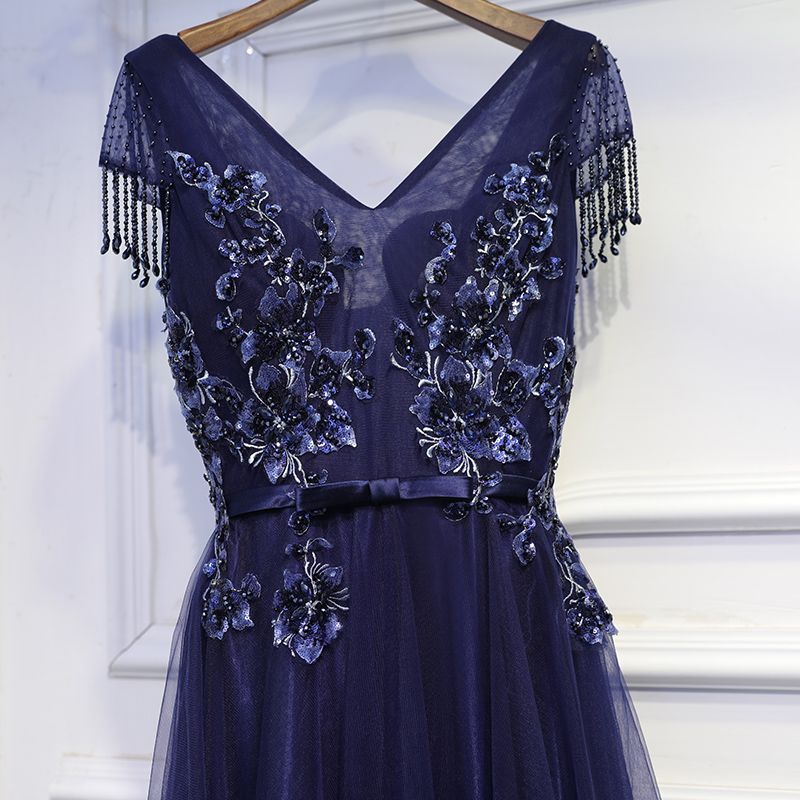 Chic / Beautiful Ink Blue Formal Dresses Cocktail Dresses 2017 Lace Flower Bow Sequins V-Neck Short Sleeve Ankle Length A-Line / Princess