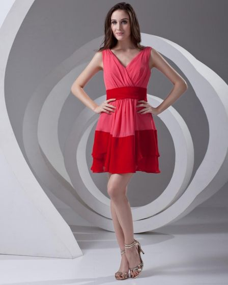 Simple Ruffle Thigh Length V Neck Color Splicing Chiffon Cocktail Party Dress