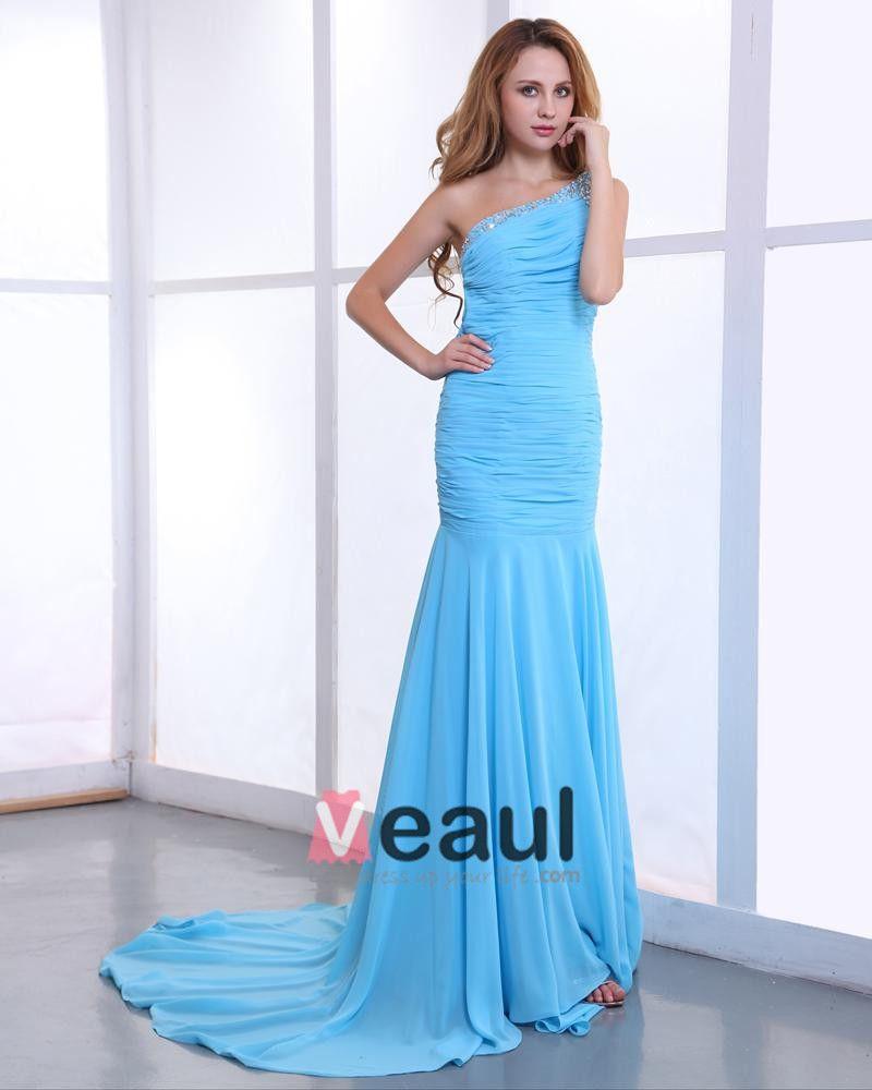 Chiffon Charmeuse Ruffle Floor Length One Shoulder Evening Dresses