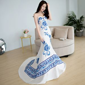 Chinese style Royal Blue Chapel Train Evening Dresses  2018 Trumpet / Mermaid Charmeuse Appliques Printing Strapless Evening Party Formal Dresses