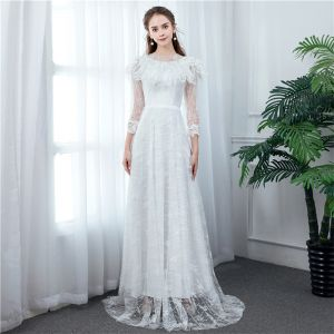 Chic / Beautiful Ivory Beach Wedding Dresses 2020 A-Line / Princess High Neck See-through 3/4 Sleeve Appliques Lace Floor-Length / Long Ruffle