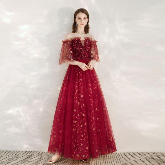Sparkly Burgundy Evening Dresses  2020 A-Line / Princess Off-The-Shoulder Glitter Star Sequins 1/2 Sleeves Backless Floor-Length / Long Formal Dresses