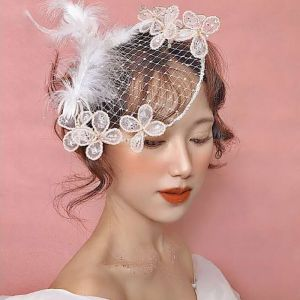 Chic / Beautiful White Headpieces 2019 Tulle Beading Butterfly Pearl Rhinestone Sequins Prom Accessories
