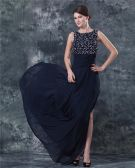 Chiffon Beading V Back Floor Length Mothers of Bride Guests Dresses